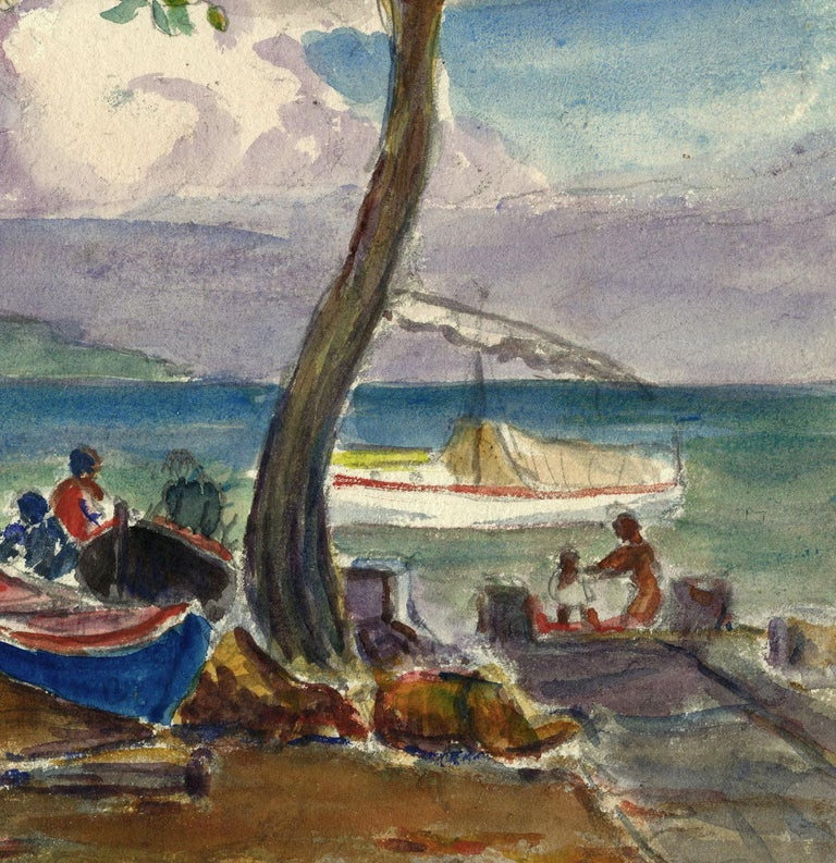"Reynolds Beal painted this watercolor entitled ""Colon"" [Panama] in the spring of 1923.  The paper size of this painting is 7 x 10"