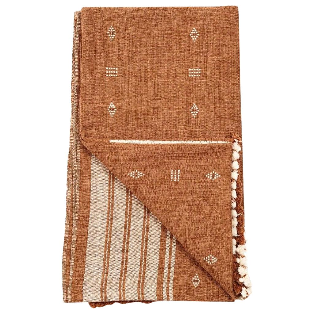 REYTI Earthy Hues Minimal Pattern Handloom Throw / Blanket In Organic Cotton