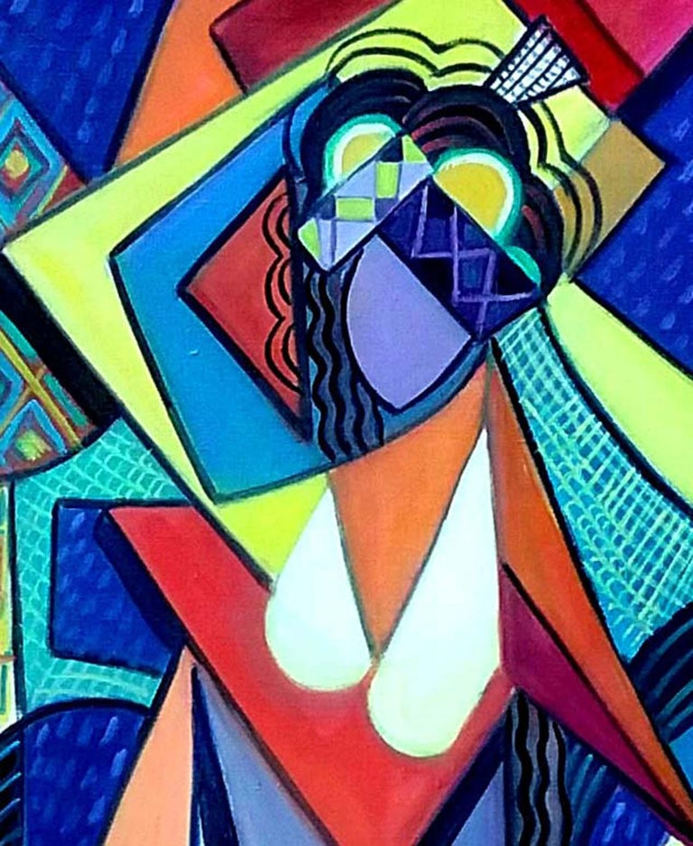 Cubist Nude with Hat - Painting by REZA AFROOKHETH