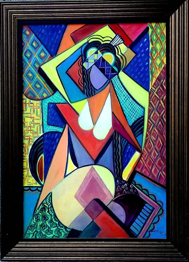 REZA AFROOKHETH Figurative Painting - Cubist Nude with Hat