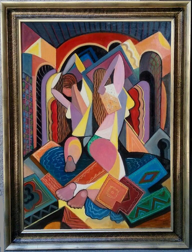 REZA AFROOKHETH Figurative Painting - Cubist Women in Bath
