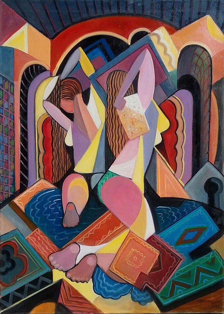 Cubist Women in Bath - Painting by REZA AFROOKHETH