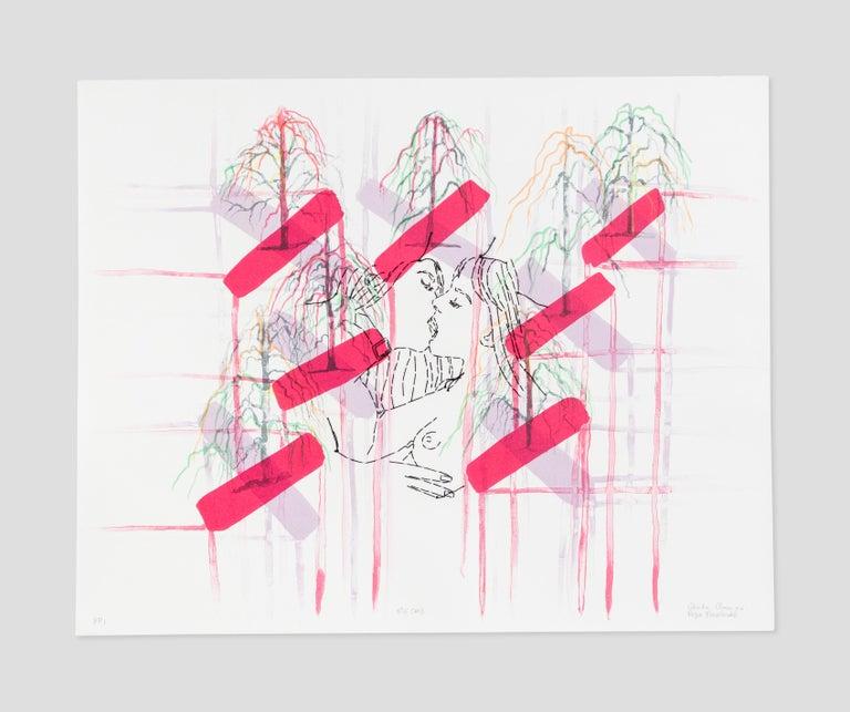Reza Farkhondeh & Ghada Amer Print -  Kiss Cross