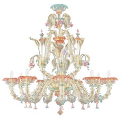 Rezzonico Chandelier 9 Arms Artistic Crystal Gold Glass Caesar by Multiforme
