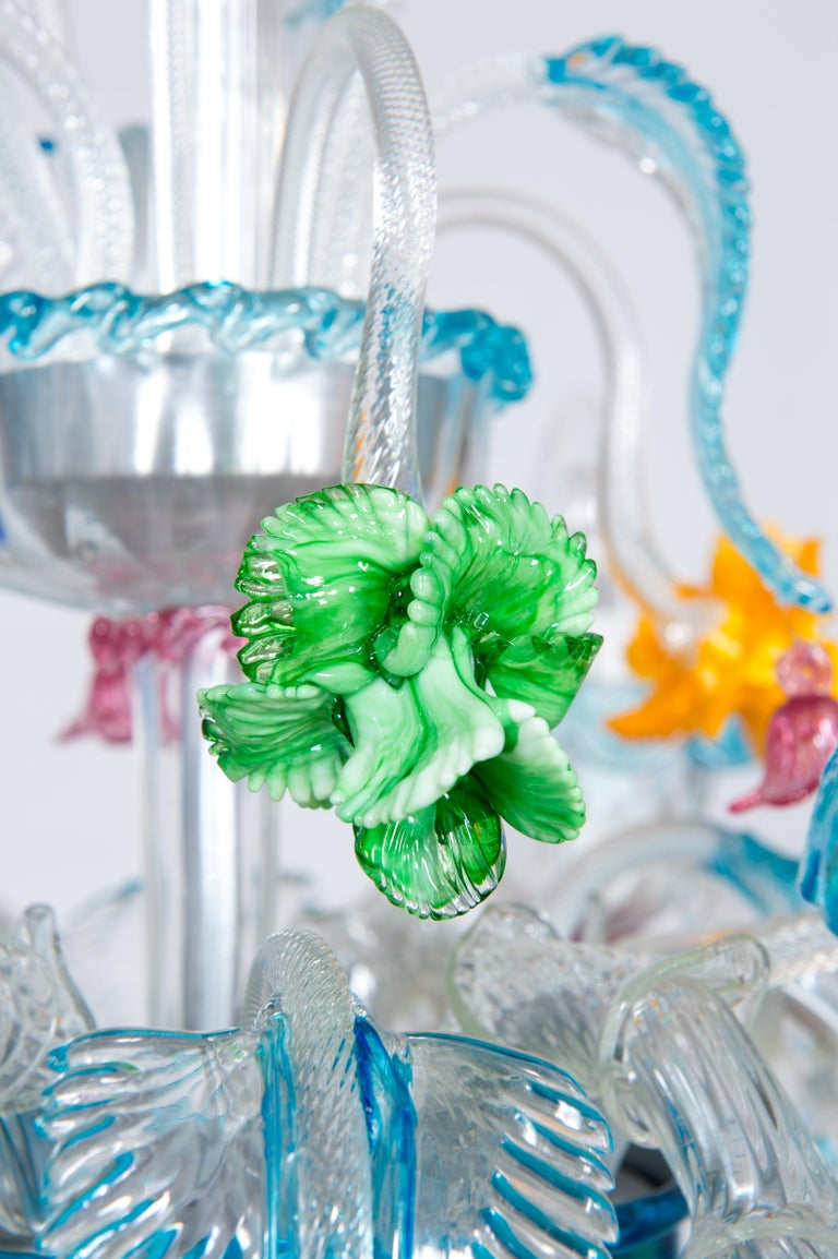Rezzonico Chandelier in Blown Murano Glass with Glass Paste Flowers, Italy For Sale 2