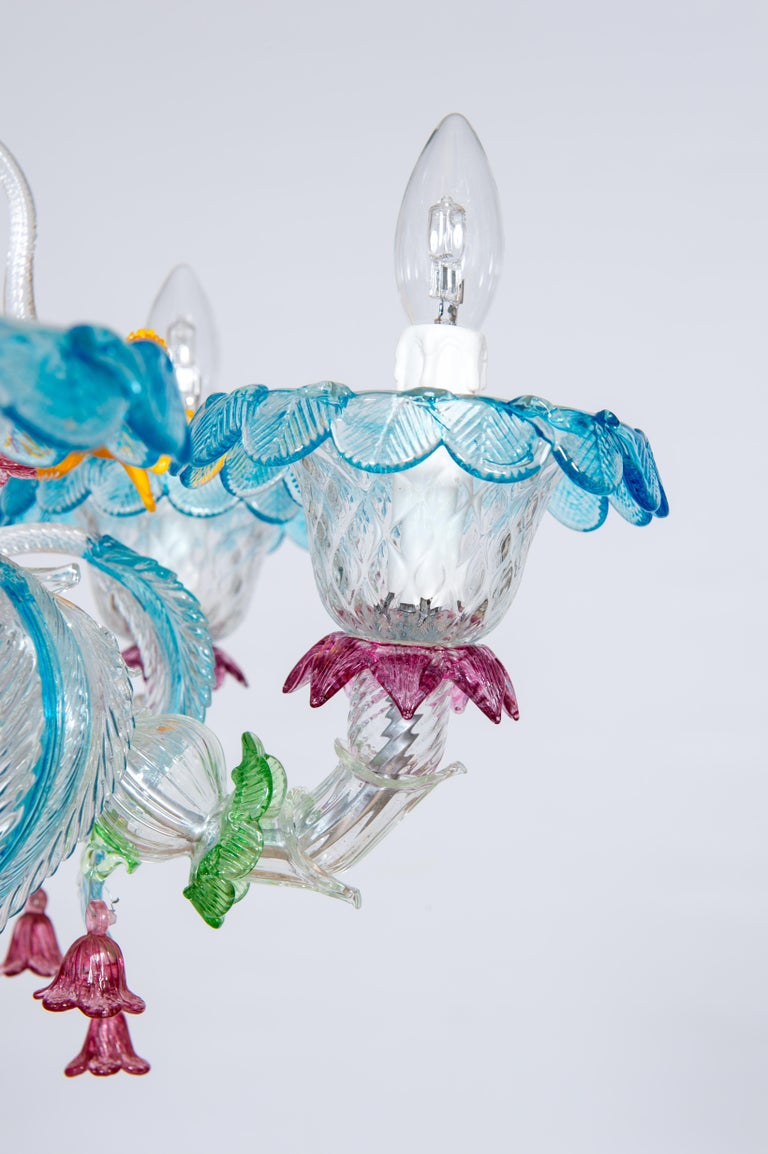 Rezzonico Chandelier in Blown Murano Glass with Glass Paste Flowers, Italy For Sale 3