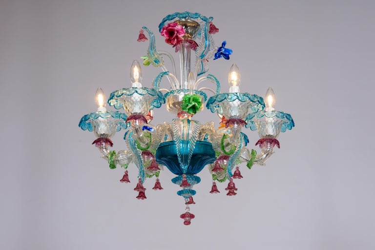 Rezzonico Chandelier in Blown Murano Glass with Glass Paste Flowers, Italy For Sale 11