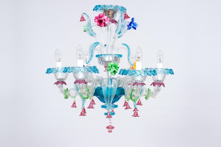 Mid-Century Modern Rezzonico Chandelier in Blown Murano Glass with Glass Paste Flowers, Italy For Sale