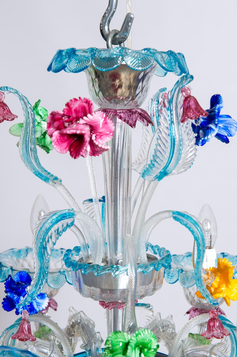 Italian Rezzonico Chandelier in Blown Murano Glass with Glass Paste Flowers, Italy For Sale