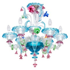 Rezzonico Chandelier in Blown Murano Glass with Glass Paste Flowers, Italy