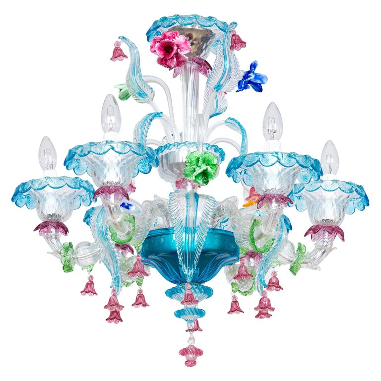 Rezzonico Chandelier in Blown Murano Glass with Glass Paste Flowers, Italy For Sale