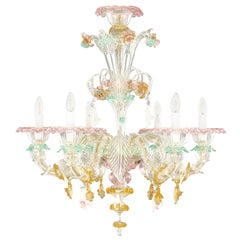 Rezzonico Murano Chandelier 6 Arms Artistic Multi-Color Glass Flowers Multiforme