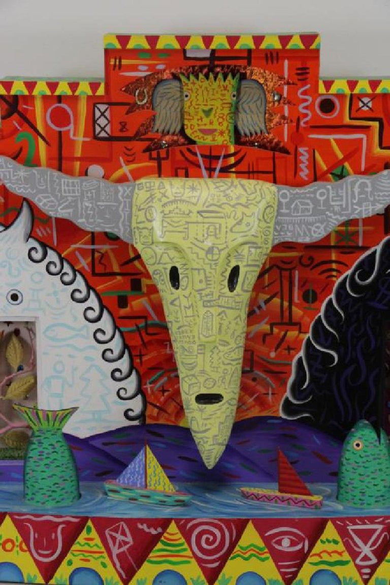 American R.G. Rodney Allen Greenblat Mixed-Media Postmodern Electrified Wall Sculpture For Sale