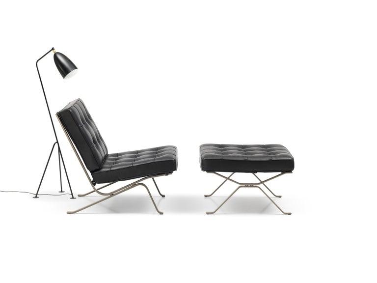 Modern RH-301 Bauhaus Leather Tufted Footstool by Robert Haussmann for De Sede For Sale