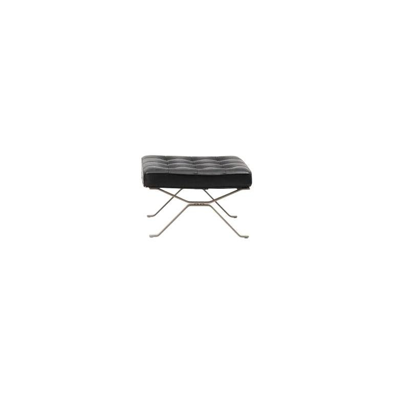 For Sale: Black RH-301 Bauhaus Leather Tufted Footstool by Robert Haussmann for De Sede