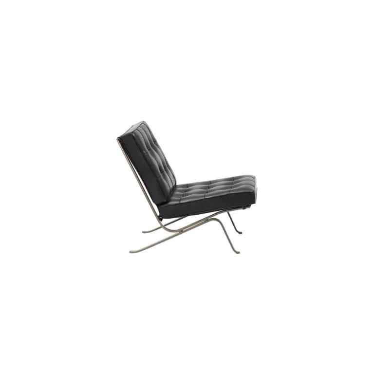 RH-301 Bauhaus Leather Tufted Lounge Chair with Steel Legs by Robert Haussmann