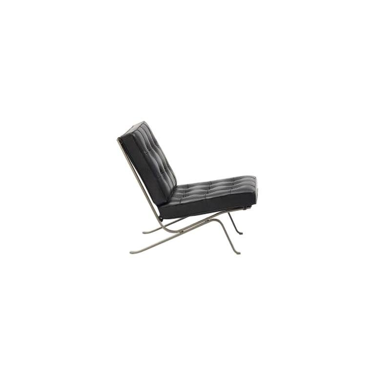 For Sale: Black RH-301 Bauhaus Leather Tufted Lounge Chair with Steel Legs by Robert Haussmann