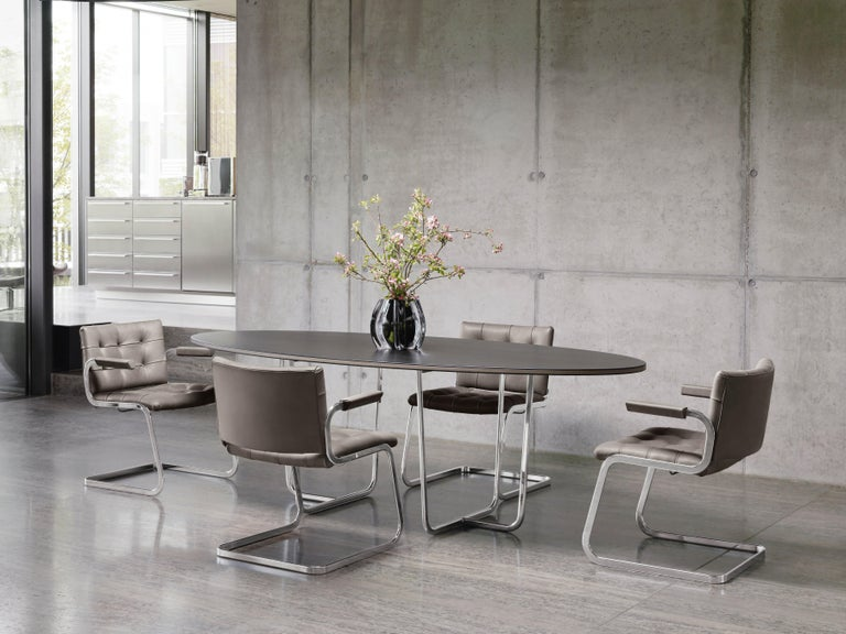 Modern RH-305 Bauhaus Dining Tufted Armchair Leather, Stainless Steel Legs by De Sede For Sale
