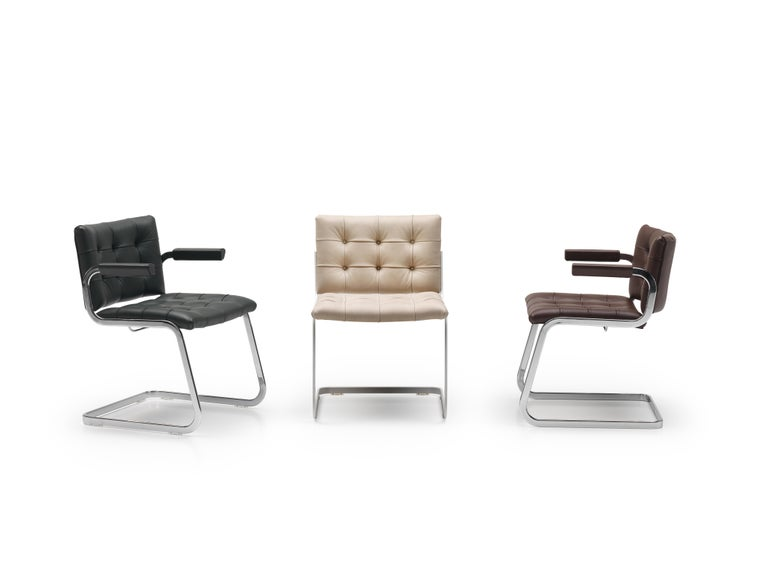 Swiss RH-305 Bauhaus Dining Tufted Armchair Leather, Stainless Steel Legs by De Sede For Sale