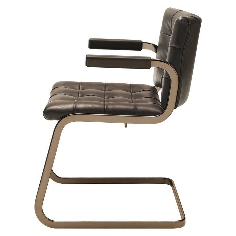 For Sale: Brown (Cigarro) RH-305 Bauhaus Dining Tufted Armchair Leather, Stainless Steel Legs by De Sede