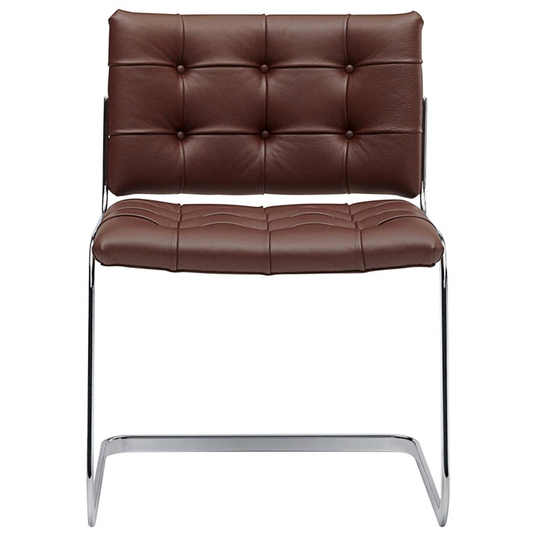 For Sale: Brown (Whisky) RH-305 Bauhaus Dining Tufted Chair Leather and Stainless Steel Legs by De Sede