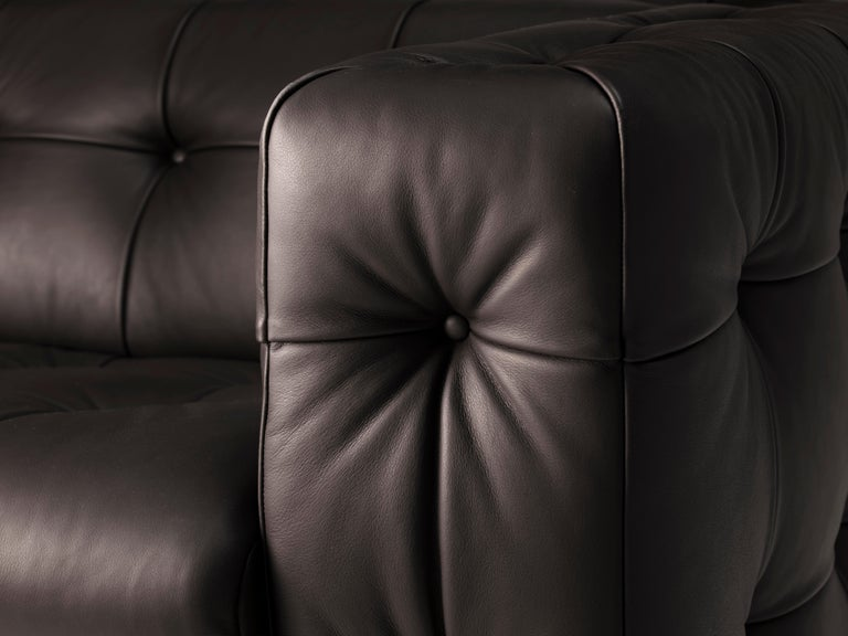 Swiss RH-306 Large Tufted Leather Chesterfield Sofa by Robert Haussmann For Sale