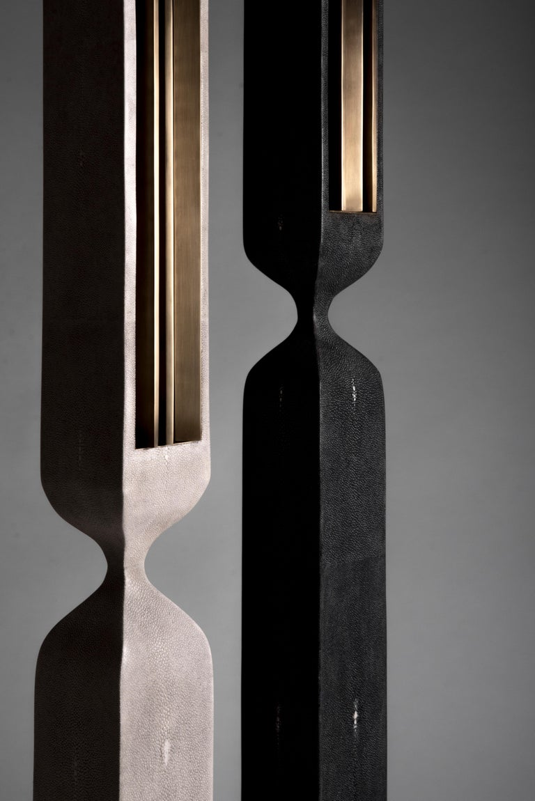 Contemporary Rhapsody Floor Lamp in Black Shagreen Bronze-Patina Brass by Patrick Coard Paris For Sale
