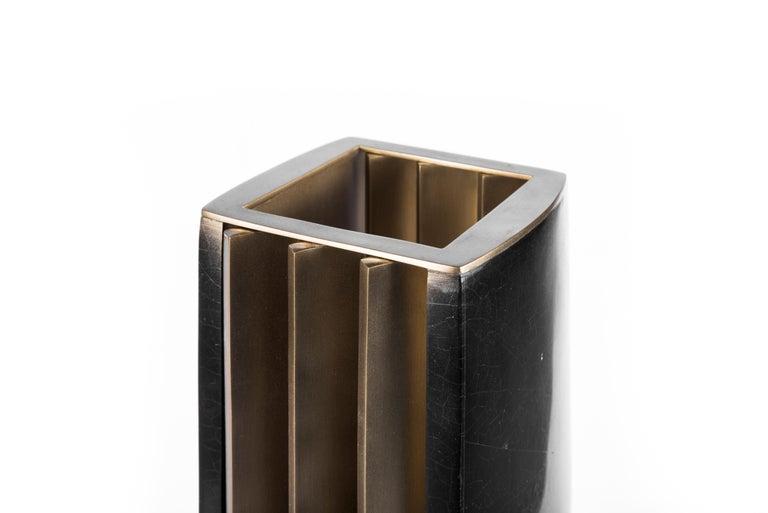 Rhapsody Floor Lamp in Cream Shagreen Bronze-Patina Brass by Patrick Coard Paris For Sale 3