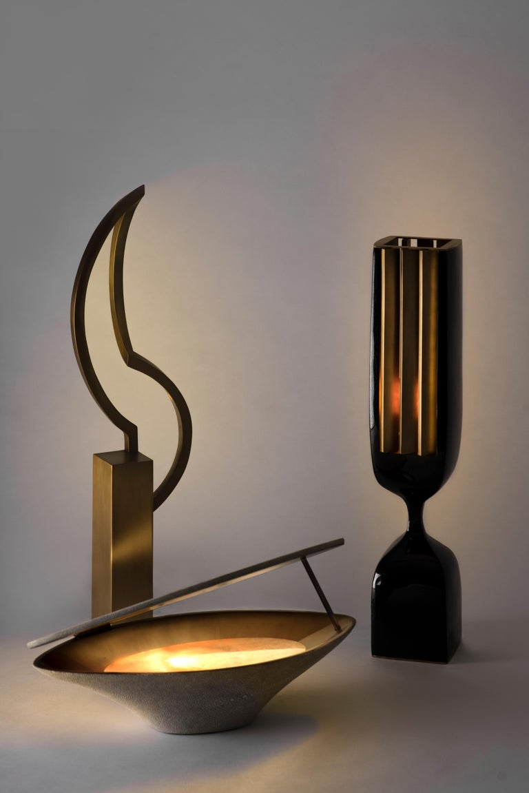 Hand-Crafted Rhapsody Floor Lamp in Cream Shagreen Bronze-Patina Brass by Patrick Coard Paris For Sale