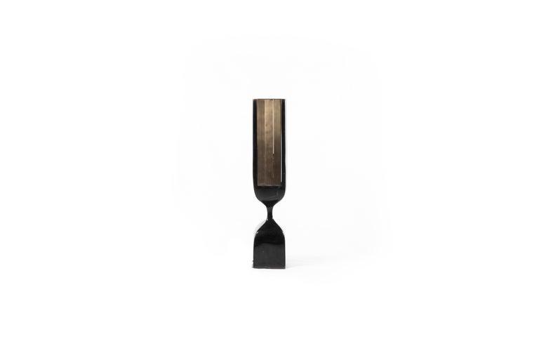 Contemporary Rhapsody Floor Lamp in Cream Shagreen Bronze-Patina Brass by Patrick Coard Paris For Sale