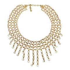 Rhinestone and Gilded Metal Bib Necklace Vintage