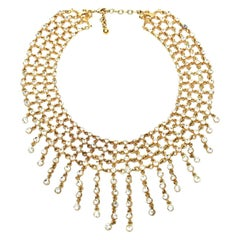 Rhinestone and Gilded Metal Bib Necklace Vintage
