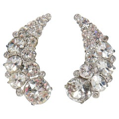 Rhinestone Crescent Earrings