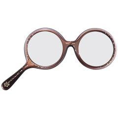 Rhinestone Encrusted Brown Lorgnette Reader Glasses, 1960's