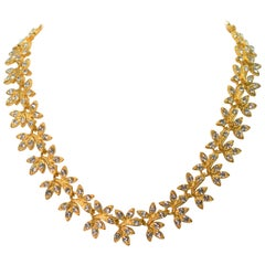 Rhinestone Golden Leaf Collar Necklace