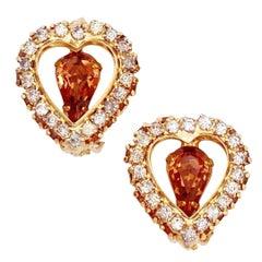 Rhinestone Heart Earrings With Smoked Topaz Crystals By Joseph Warner, 1960s