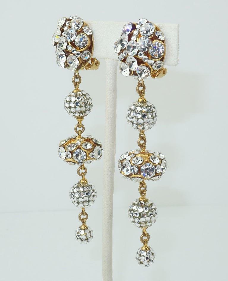 Retro Rhinestone & Pave Crystal Dangle Drop Earrings, C.1980 For Sale