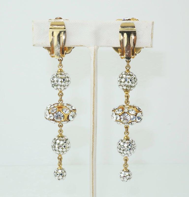 Rhinestone & Pave Crystal Dangle Drop Earrings, C.1980 In Good Condition For Sale In Atlanta, GA