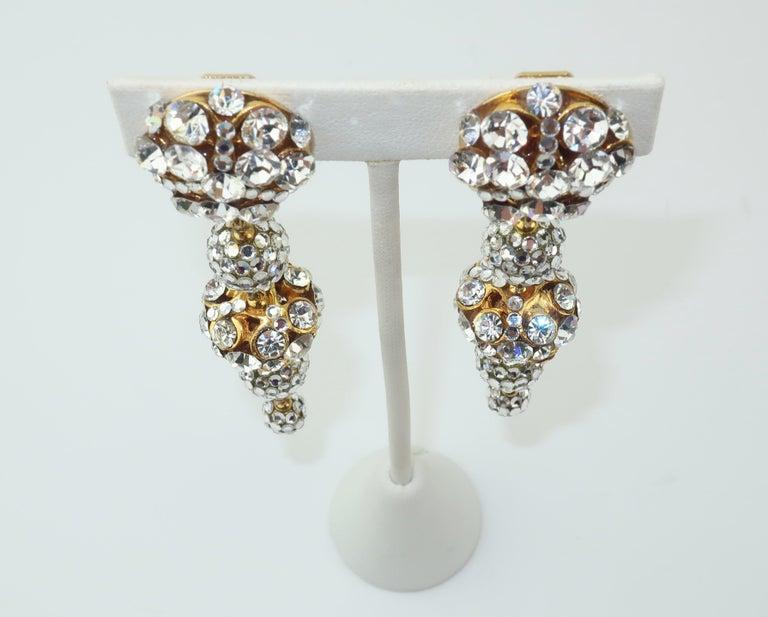 Women's Rhinestone & Pave Crystal Dangle Drop Earrings, C.1980 For Sale