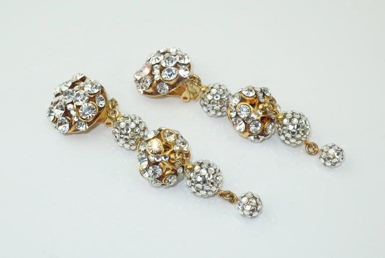 Rhinestone & Pave Crystal Dangle Drop Earrings, C.1980 For Sale 1