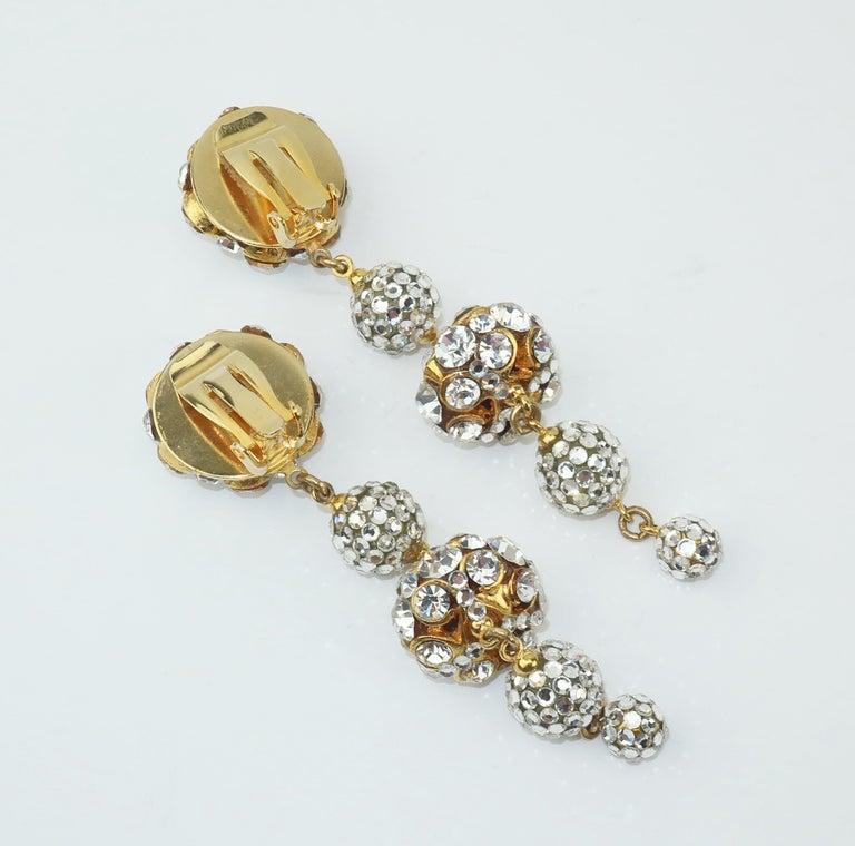 Rhinestone & Pave Crystal Dangle Drop Earrings, C.1980 For Sale 2