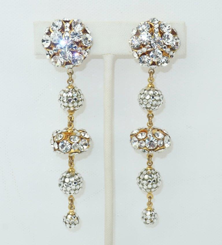 Rhinestone & Pave Crystal Dangle Drop Earrings, C.1980 For Sale 3