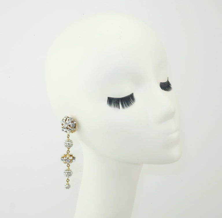 Rhinestone & Pave Crystal Dangle Drop Earrings, C.1980 For Sale 4