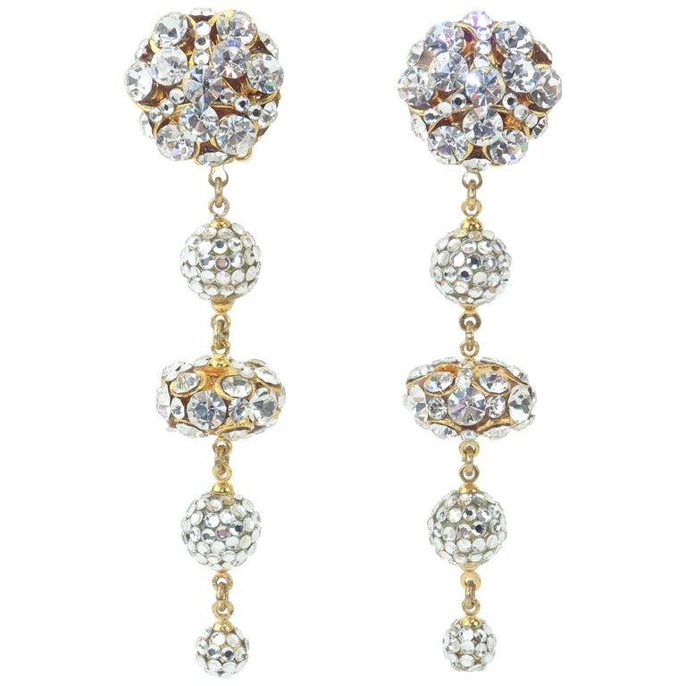 Rhinestone & Pave Crystal Dangle Drop Earrings, C.1980 For Sale