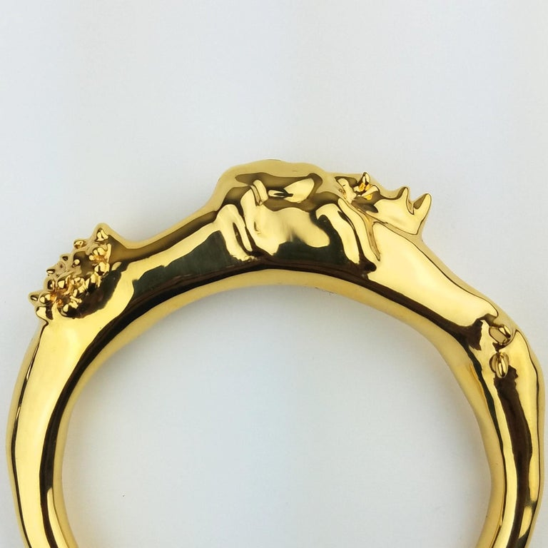 Modern Pieces NewYorkCity 18k Solid Gold over Brass Rhino Bracelet For Sale