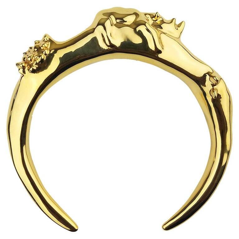 Pieces NewYorkCity 18k Solid Gold over Brass Rhino Bracelet For Sale