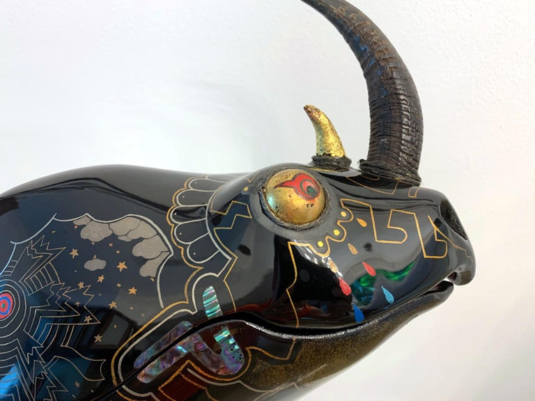 Rhino Contemporary Japanese Lacquer Art by Someya Satoshi For Sale 11