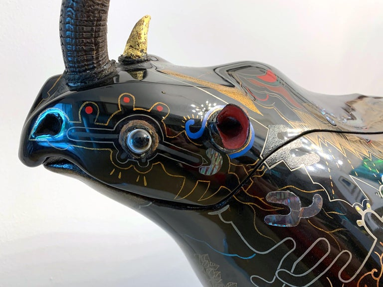 Rope Rhino Contemporary Japanese Lacquer Art by Someya Satoshi For Sale