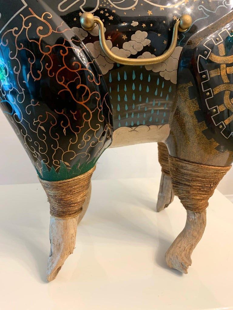 Rhino Contemporary Japanese Lacquer Art by Someya Satoshi For Sale 2