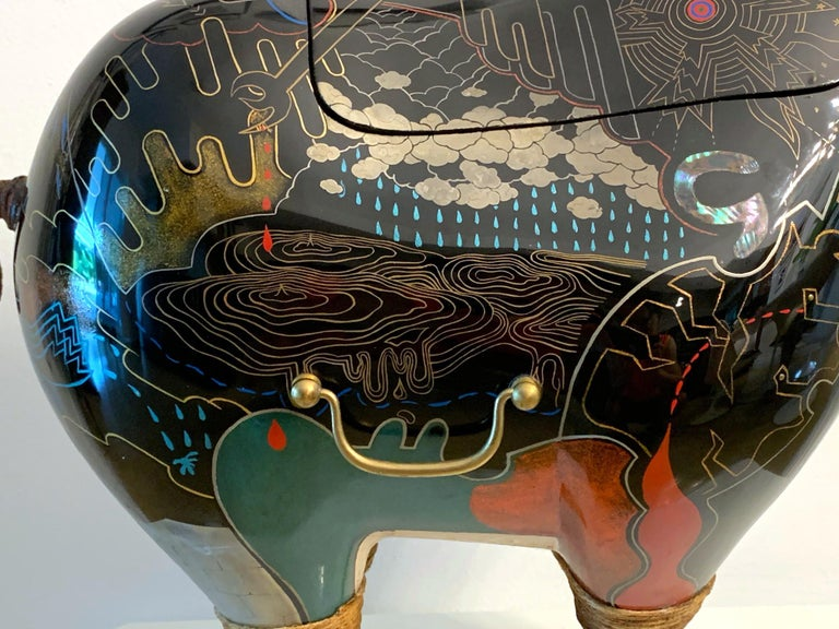 Rhino Contemporary Japanese Lacquer Art by Someya Satoshi For Sale 3